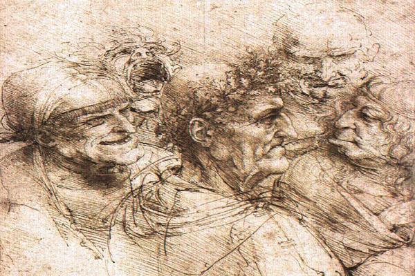 Esboço do quadro Cabeças Grotescas, feito em Sépia por Leonardo Da Vinci
