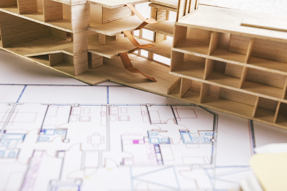 escadas nas maquetes de arquitetura